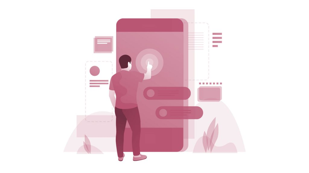 illustration of a man standing in front of a lifesized mobile phone interacting with it.